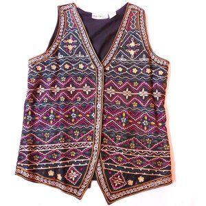 Boho Indian Embroidery Vintage Folk Vest